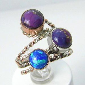 Rose & Sterling Silver Charoite & Opal Ring NEW